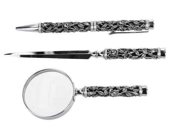 Długopis + nóż do listów + lupa - różyczka