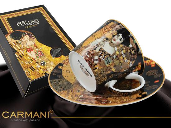 Filiżanka + spodek -  Gustav Klimt Adela czarne tło