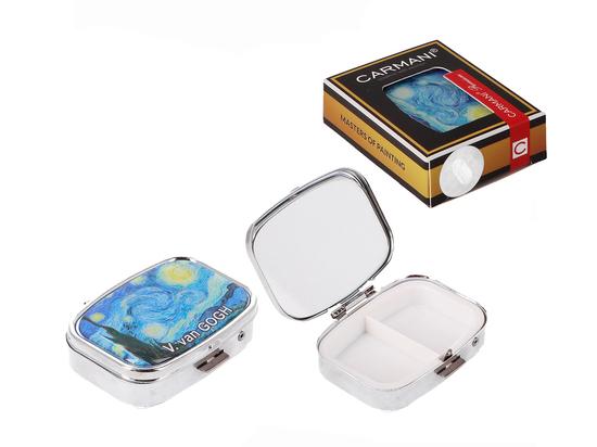 Puzdreko na tabletki prostokątne z lusterkiem - V. van Gogh, Gwiaździsta Noc (CARMANI)